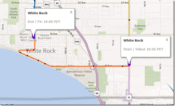 Rick Hansen 25th Anniversary Relay - map for White Rock